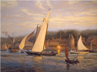 "A Great Victory.""America"" finishes first off the Castle, Cowes, Isle of Wight, August 22nd, 1851."