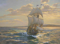 """ The ""Mayflower"" approaching Cape Cod, November 1620."""