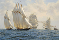 """The three masted schooner ""Atlantic"" at the start of the  Transatlantic Race, May 17th 1905."""