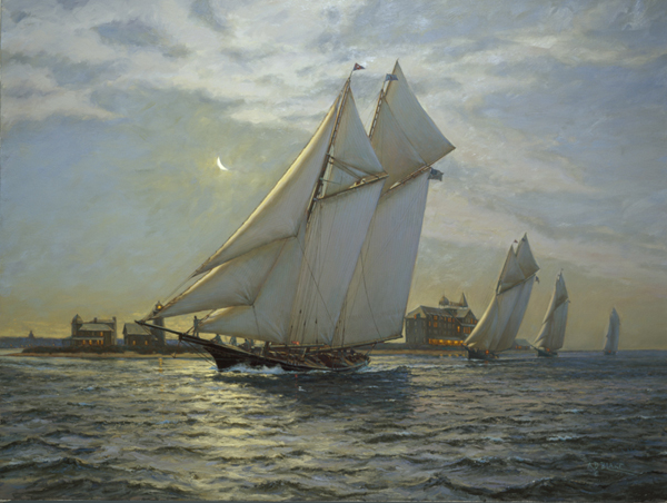 """Fortuna"", (Commodore Henry S. Hovey) followed by other large schooners of the Eastern Yacht Club, sail into Nantucket Harbor, circa 1885."