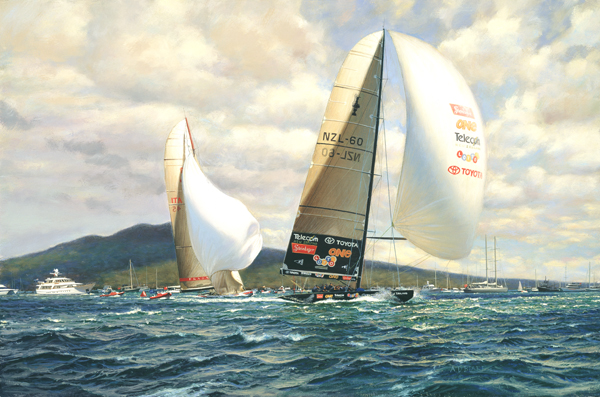 """The final leg to victory. ""New Zealand"" leads ""Prada"", race five, America's Cup 2000""."