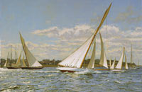 """Gloriana"" and ""Minerva"" tack out of the Eastern Yacht Club anchorage, circa 1901."