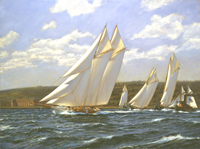 """Magic"" leads ""America"" and ""Cambria"" past Fort Wadsworth, America's Cup, August 8th,1870."