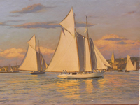 """Magic"" and ""Cambria"" sail into Newport Harbor, 1870."