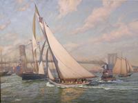 """A Salute To Victory. ""Puritan"", the successsful defender of the 1885 America's Cup, sails up the East River, New York."""
