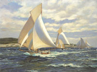 """Sayonara"" leads the 46 foot class into Newport past Castle Hill Light, 1891."