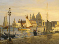 """Venice, circa 1900. Looking across the Grand Canal to the Santa Maria Della Salute."""