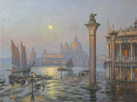 The Lion of Saint Marks, Venice, by moonlight/sunrise. Circa 1870