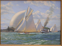 """Thelma"" leads ""Ariki"" and ""Rainbow"". 1907 Auckland Anniversary Regatta."""