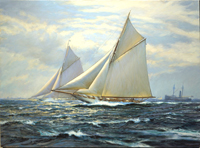 """A Race To Remember. ""Vigilant"" and ""Valkyrie II"", Race 3, America's Cup, October 13th, 1893."""